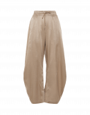 DECIPHER: Wide, curved-leg pants in taupe cotton