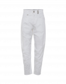 RESOUND: White easy jeans with criss-cross front leg seam