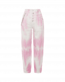 OPEN-OUT: Pantaloni in broken twill con tie-dye rosa