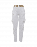 BRAVERY: White jodhpur pants in cotton and linen