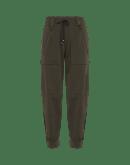 DETERMINED: Pantaloni verde oliva scuro alla caviglia con gamba svasata