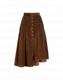 MELLOW: Pleated button-thru skirt in brown corduroy