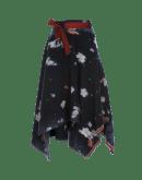 CHAOS: Asymmetrically draped floral blanket skirt
