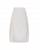WONDER-FUL: Full skirt in cream self-stripe cotton