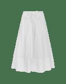 GLEEFUL: Gonna ampia in cotone bianco con orlo ricamato e trapuntato