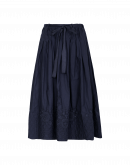 GLEEFUL: Navy skirt with quilted and embroidered hem