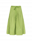 GLEEFUL: Green skirt with quilted and embroidered hem