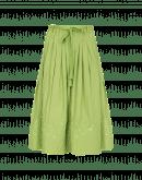 GLEEFUL: Gonna ampia in cotone verde con orlo ricamato e trapuntato