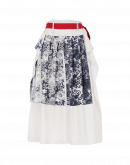 "INSPIRATION: Cream apron skirt with artisanal ""stamp"" print"