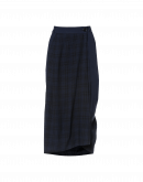 MEANDER: Wrap front skirt in plain navy and navy check