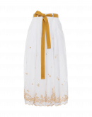 RE-CREATE: Gonna in ramie avorio con ricamo giallo