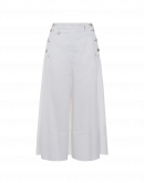 SWIRLING: Wide, white culottes