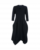 CONQUER: Navy jersey dress with 3/4 sleeves