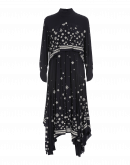 RADIANCE: Navy rayon dress with ivory embroidery