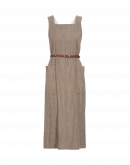 PURPOSE: Pinafore dress in oatmeal wool linen mix