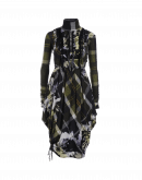 SHAKE UP: Green tartan and flower print dress with ruffle front