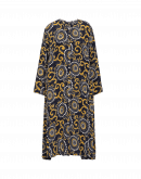 SPLENDOUR: Silk dress in double print with gathered sides