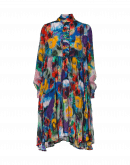 CALM: Shirt waist dress in multi-colour painted floral