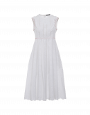 DIVINE: White dress with bands of embroidery