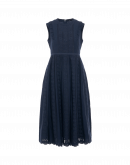 DIVINE: Navy dress with bands of embroidery