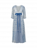 PROMENADE: Blue and white multi-pattern georgette dress