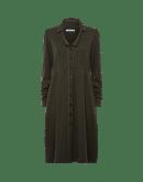 ELOQUENT: Abito chemisier sartoriale in jersey di lana verde oliva scuro