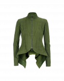 RIVAL: Green knit zip front cardigan