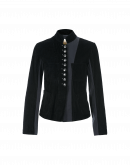 CRAVE: Stand collar jacket in black corduroy