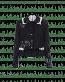 INFLUENCE: Giacca navy in lana con motivo floreale artigianale