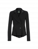 RUSKIN: Double breasted jacket in herringbone with broken stripe