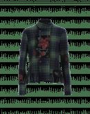 TOP NOTCH: Tartan jacket with red flower overprint