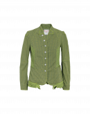 EYRE: Collarless jacket in green stripe and check