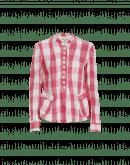 RIGHTEOUS: Destrukturierte Jacke mit rosafarbigem Karomuster