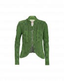 CONFIDE: Green knit zip front cardigan