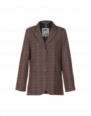 STYLIZE: Single breasted jacket in brown, navy and red check