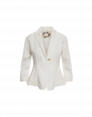 WELCOME: Short fitted shawl collar jacket in cream