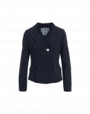 UNDERLINE: Short boxy jacket in navy wool pinstripe
