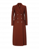 COMEBACK: Double breasted coat in brick red jersey