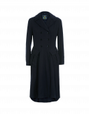 DIALOGUE: Double breasted coat in navy cotton wool mix