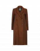 IN AWE: Dark camel coat with rib detail on sleeve