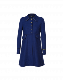 PEEP: Fit and flair coat in royal blue tweed
