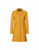 PEEP: Fit and flair coat in saffron tweed