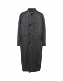 WILLOW: Cappotto senza collo a spina di pesce avorio e nero