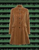 CHEERFUL: Cappotto 3/4 con collo alla coreana in velluto color fulvo