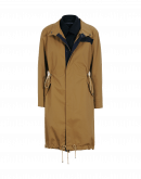 TORMENT: Double front coat in tan cotton and navy wool