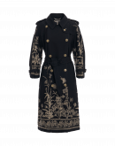 DIALECT: Luxury trench coat in black wool with floral embroidery
