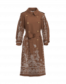 DIALECT: Luxury trench coat in light brown wool with floral embroidery