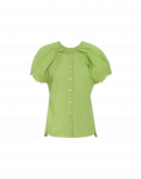 YELP: Camicia verde con ricamo e maniche ad aletta
