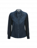 COY: Ruffle front denim shirt with rayon cupro sleeves