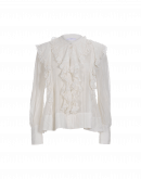 LIVELY: Ruffle shirt in ivory cotton silk stripe voile